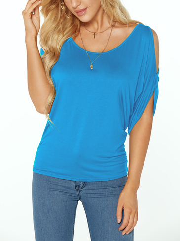 Blue Scoop Neck Cold Shoulder Tie-up at Back Tee