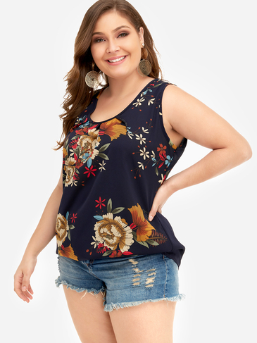 Plus Size Floral Print Round Neck Tank Top