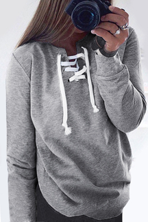 Grey Pullover Long Sleeve Lace-up Sweatshirt