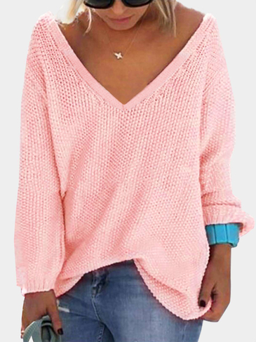 Pink Classic Design Loose Plunge Sweater