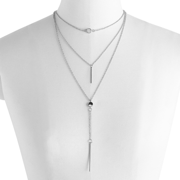Silver Pendant Layered Necklace Set