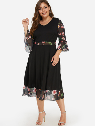 Plus Size Black Floral Print Organza Flared Sleeves Dress
