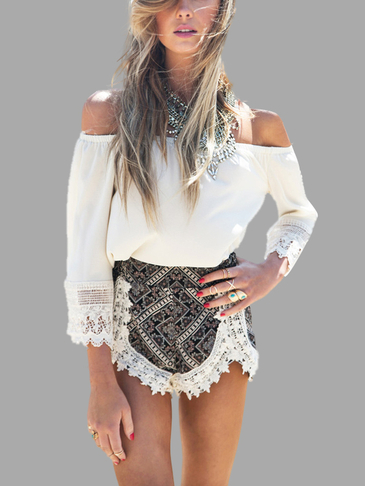 Off Shoulder Top & Bohemia Pattern Shorts Co-ord