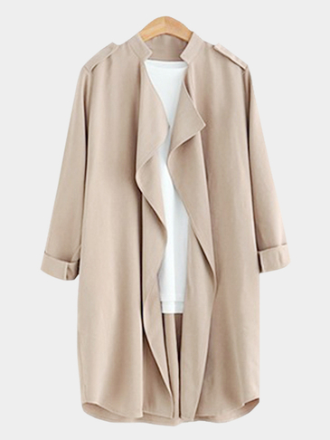 Khaki Roll Up Button Closure Open-front Lapel Collar Outerwear