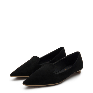 Black Suede Pointed Toe Slip-on Flat Shoes
