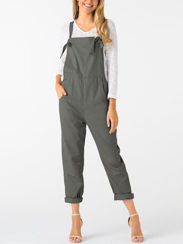 Grey Square Neck Sleeveless Overall Outfits