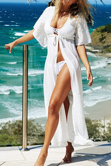 White Lace Insert Beachwear