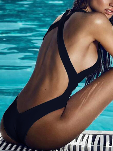 Black Sexy Backless Swimwear