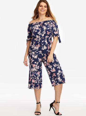 Plus Size Navy Self-tie Floral Print Off The Shoulder Jumpsuit