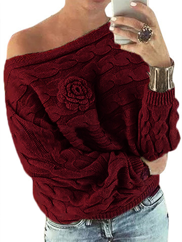 Burgundy Off Shoulder Dolman Sleeve Random Floral Sweater