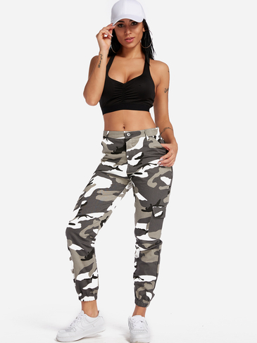 Active Camo Pattern High Waisted Sports Pants in Grey