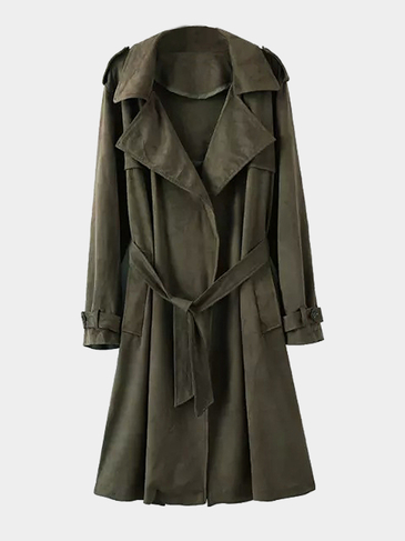 Army Green Lapel Collar Long Sleeves Trench Coat With Tie Waist