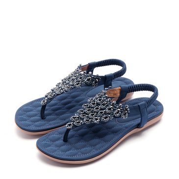 Soft Dark Blue Jewelry Embellished Flat Sandals
