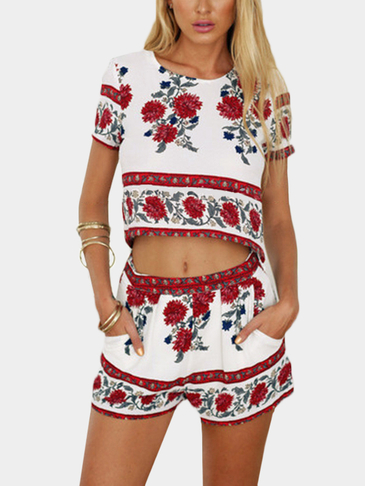 Floral Print Crop Top & Shorts Co-ord