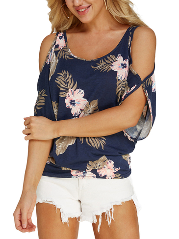Navy Random Floral Print Cold Shoulder Tie-up at Back Tee