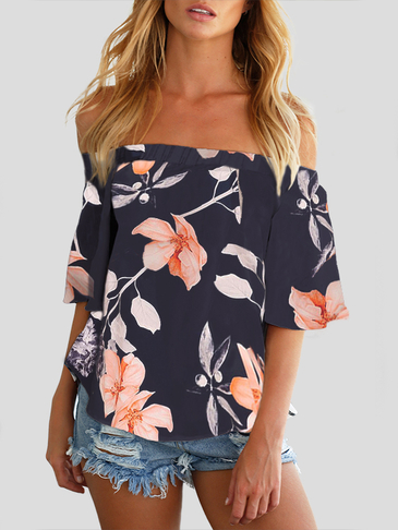Sexy Off Shoulder Random Floral Print Blouse in Navy