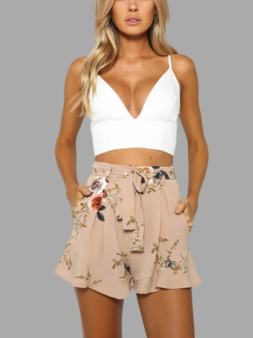 Khaka Random Floral Print High Waist Shorts with Waist Belt