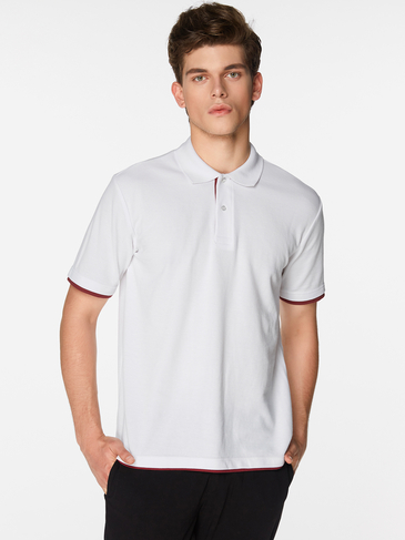 White With Wine Red Line Button Design Short Sleeve Men's Lapel Collar T-Shirt