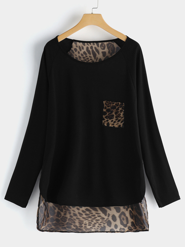 Plus Size Leopard Panel High-low Hem Blouse