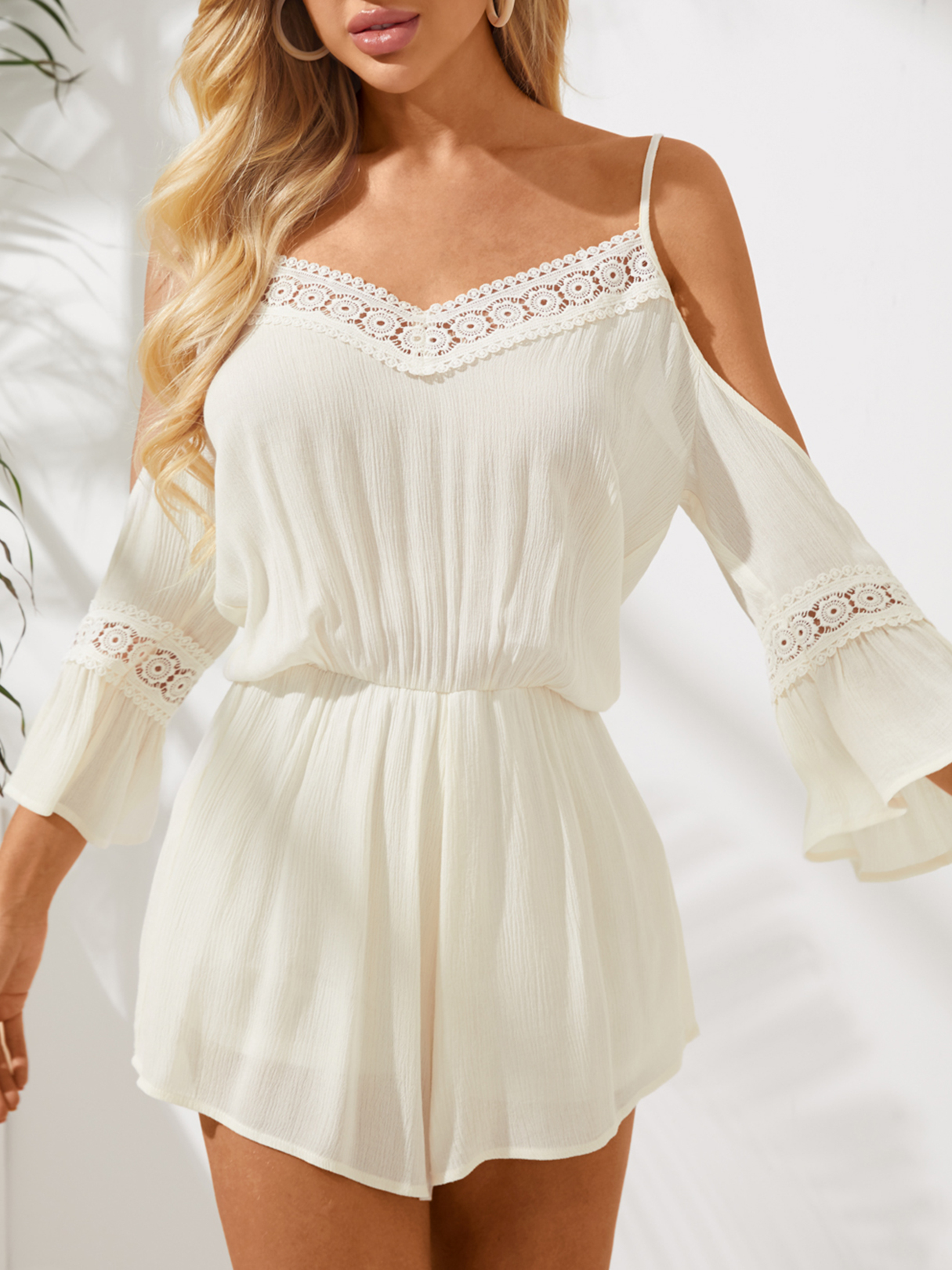Yoins coupon: Cold Shoulder Playsuits With Lace Insert