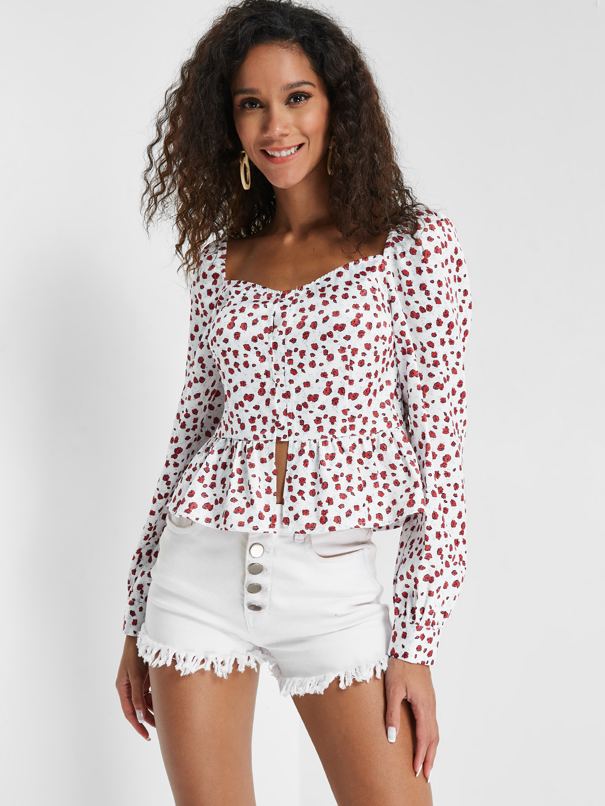 White Ruffle Trim Cherry Floral Print Blouse, YOINS  - buy with discount