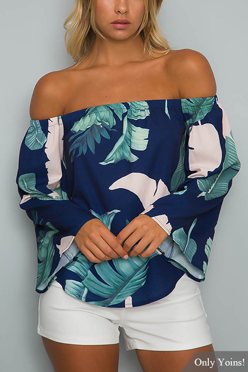 Yoins coupon: Navy Off-The-Shoulder Floral Print Flared Sleeves Top with Tie