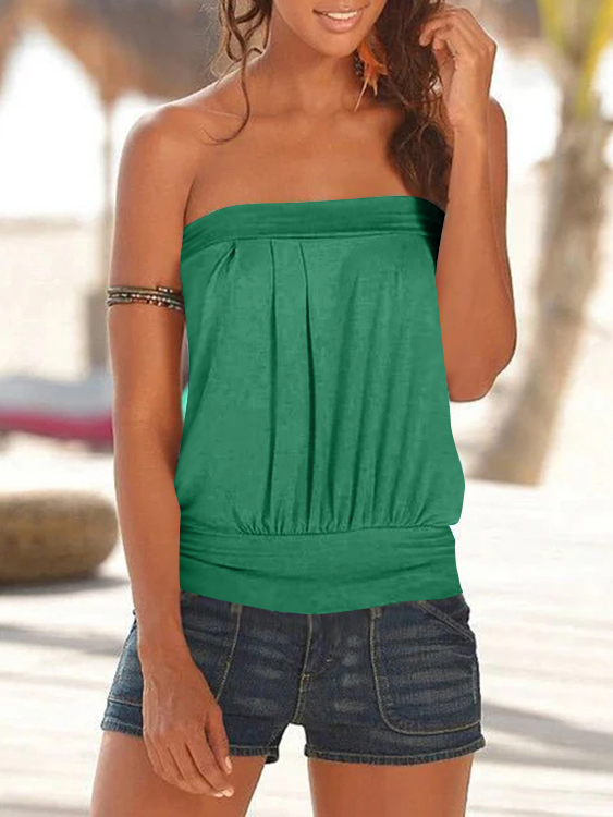 Yoins coupon: Green Pleated Design Strapless Sleeveless Cami