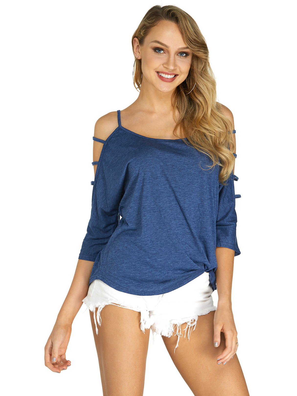 Yoins coupon: Blue Cold Shoulder 3/4 Length Sleeve T-shirt with Strappy Detail