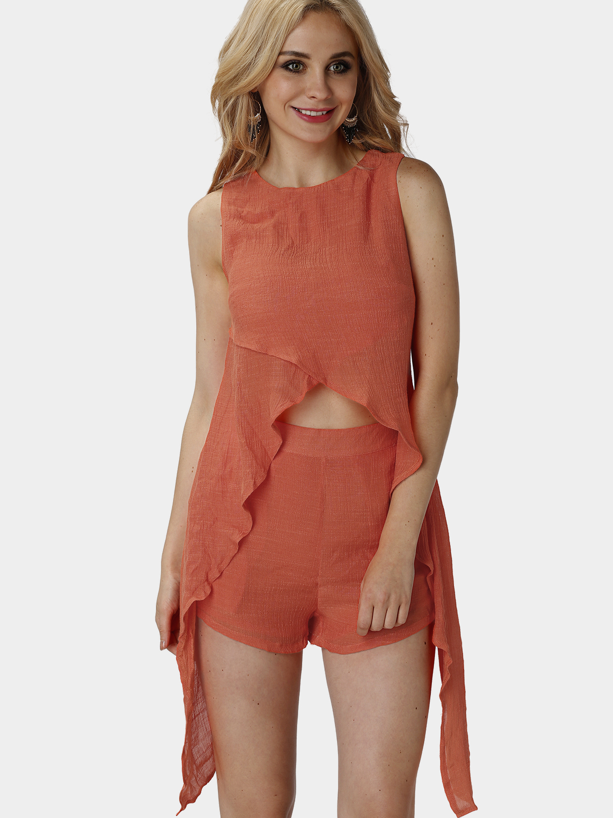 Orange Sleeveless Convertible Two Piece Outfits