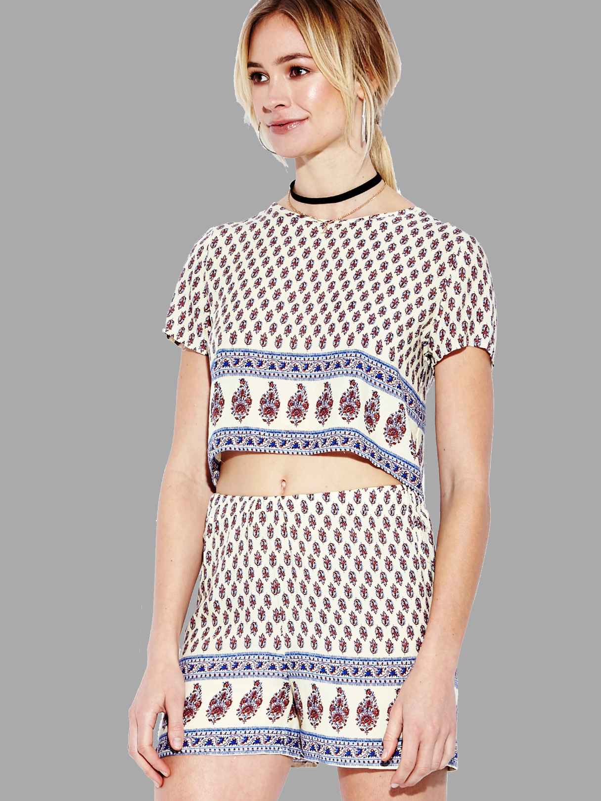 Yoins coupon: Red Tribal Print Crop Top and Shorts Co-ord