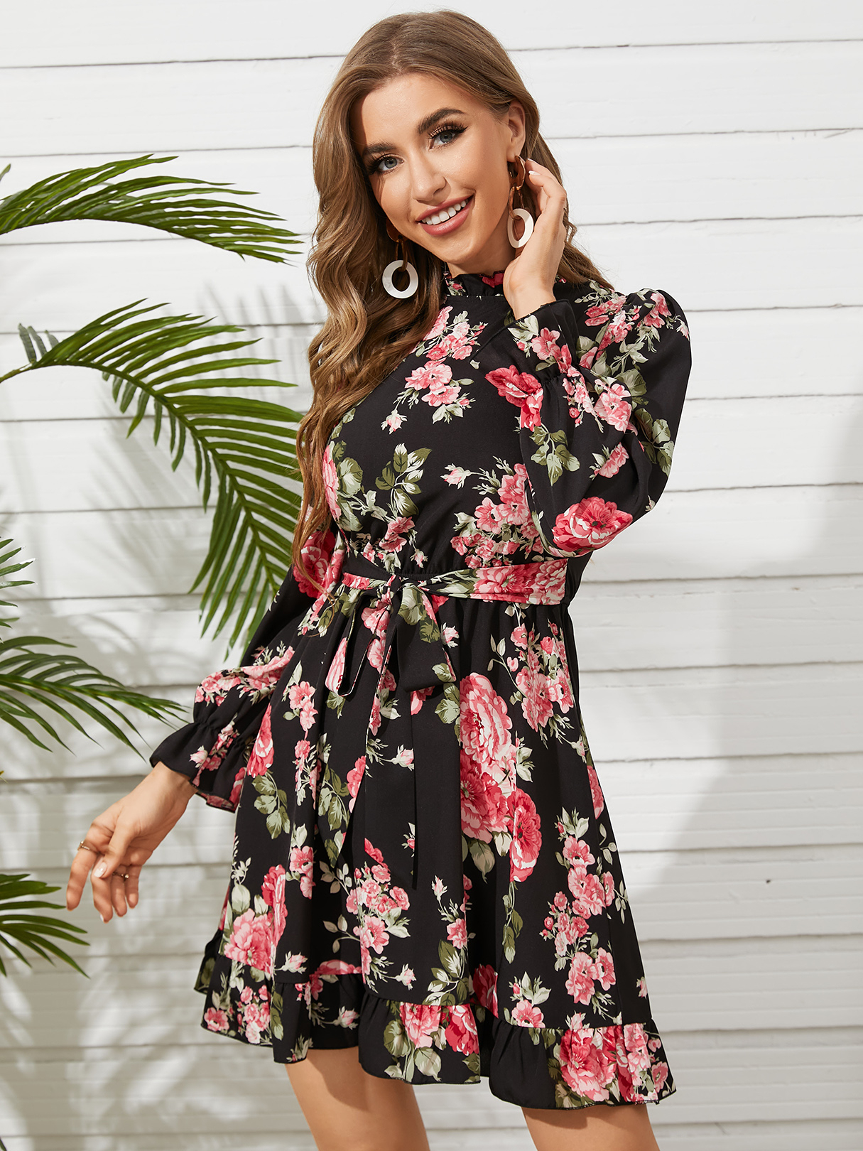 YOINS Floral Print Ruffle Trim Stand Collar Long Sleeves Mini Dress  - buy with discount