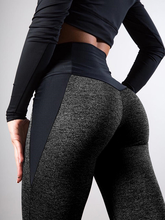 Image of Leggings sportivi patchwork a vita alta