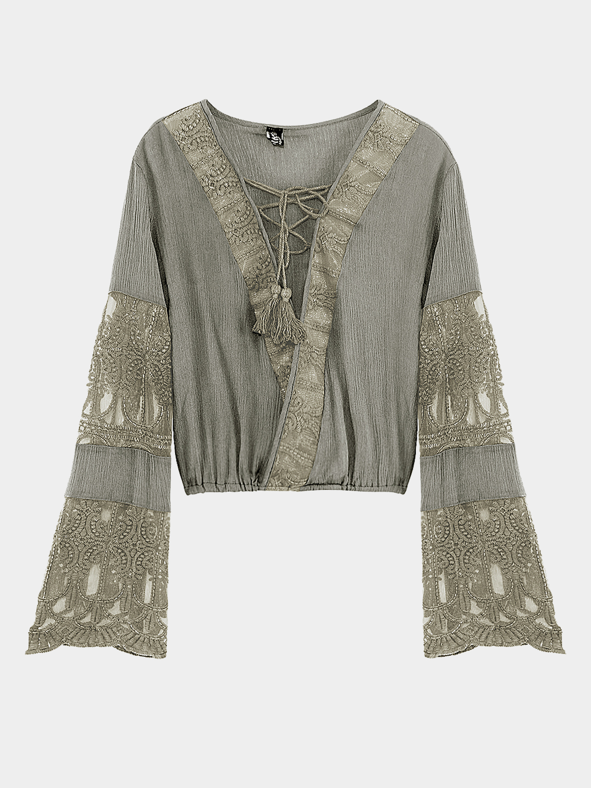 Yoins coupon: Grey Lace-up Flared Sleeves Top