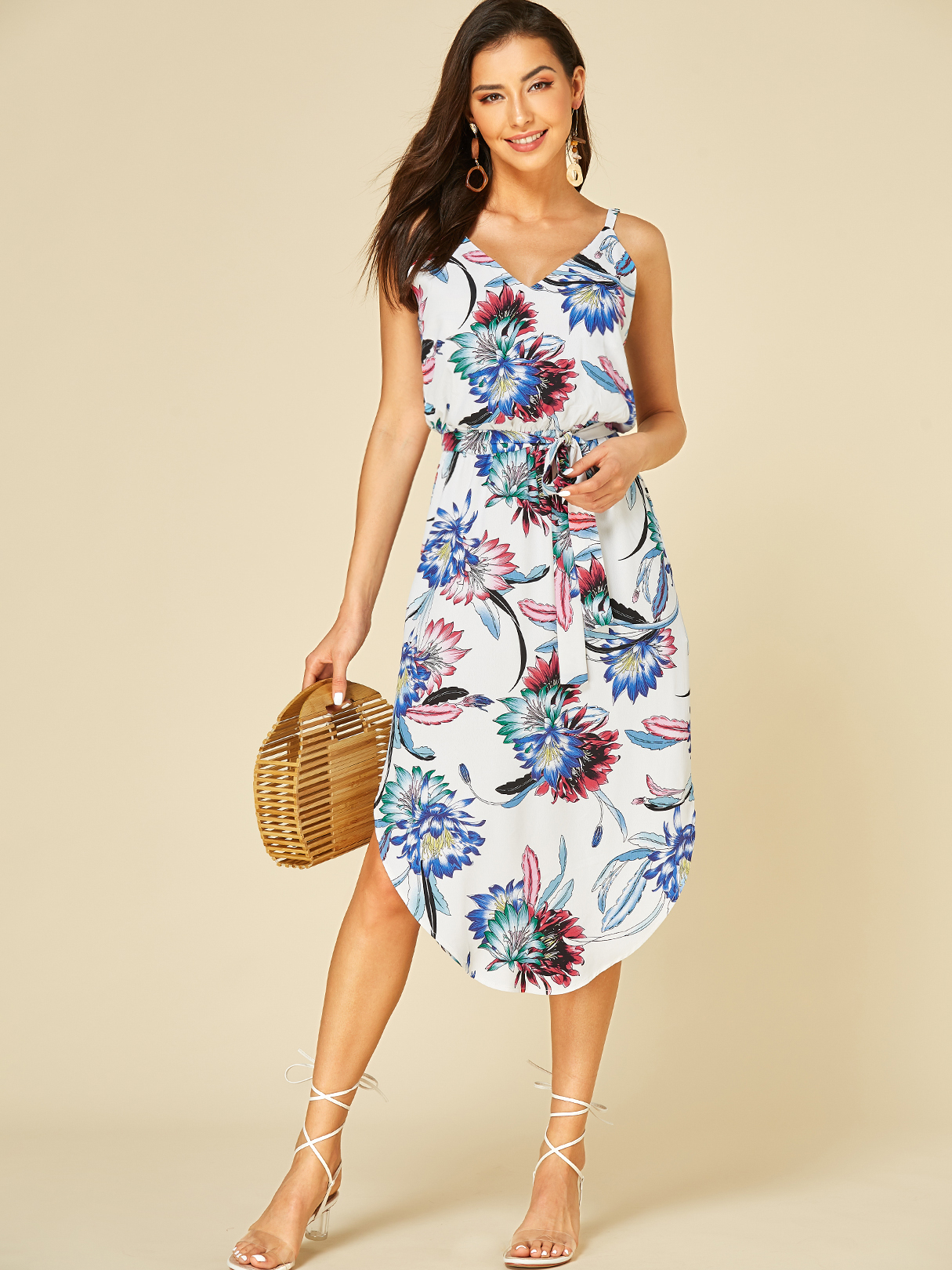 white backless design floral print v-neck sleeveless dress