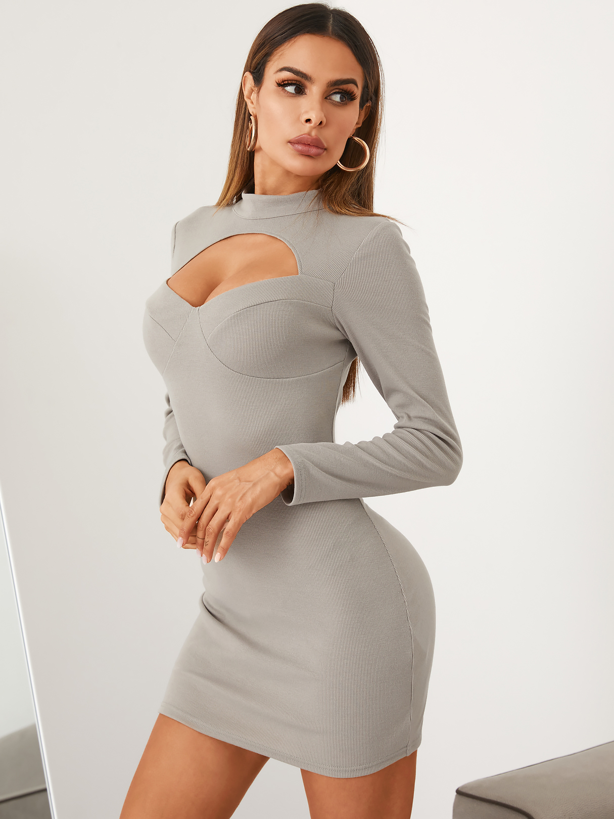 YOINS Mock Neck Cut Out Ribbed Knit Long sleeves Mini Dress  - buy with discount
