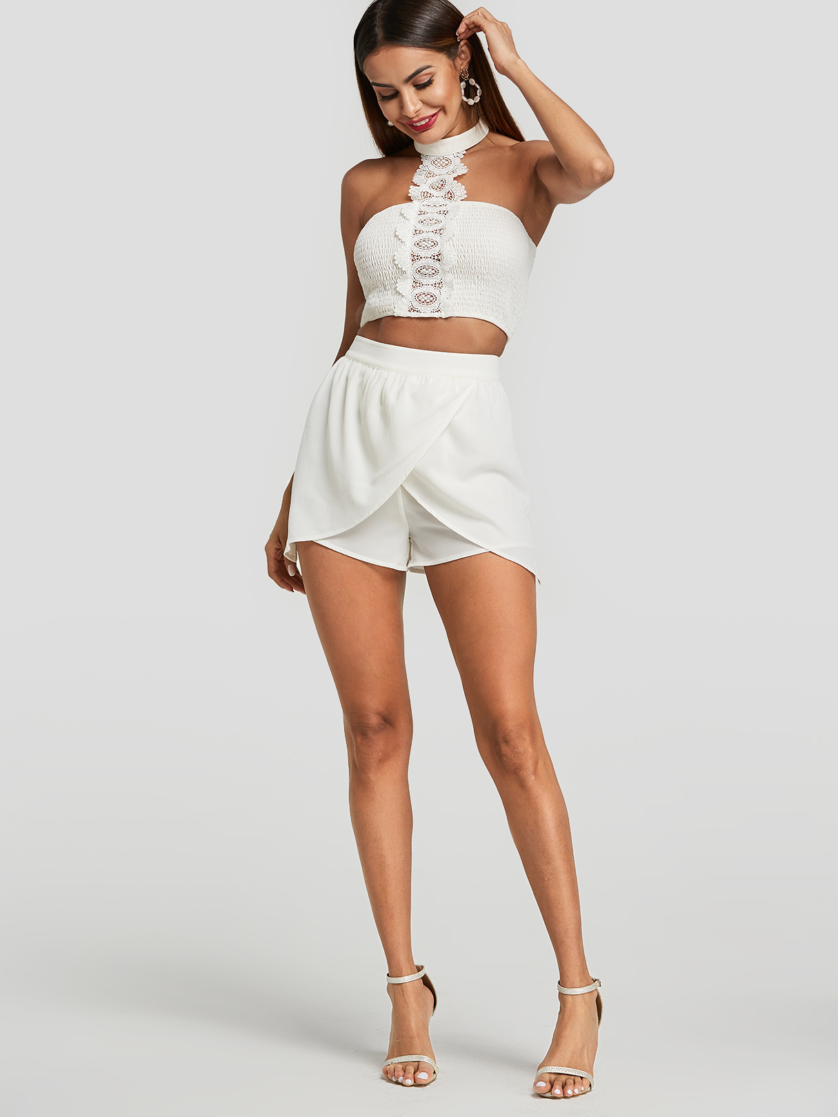 White Lace Halter Neck Tiered design Two Piece Outfits