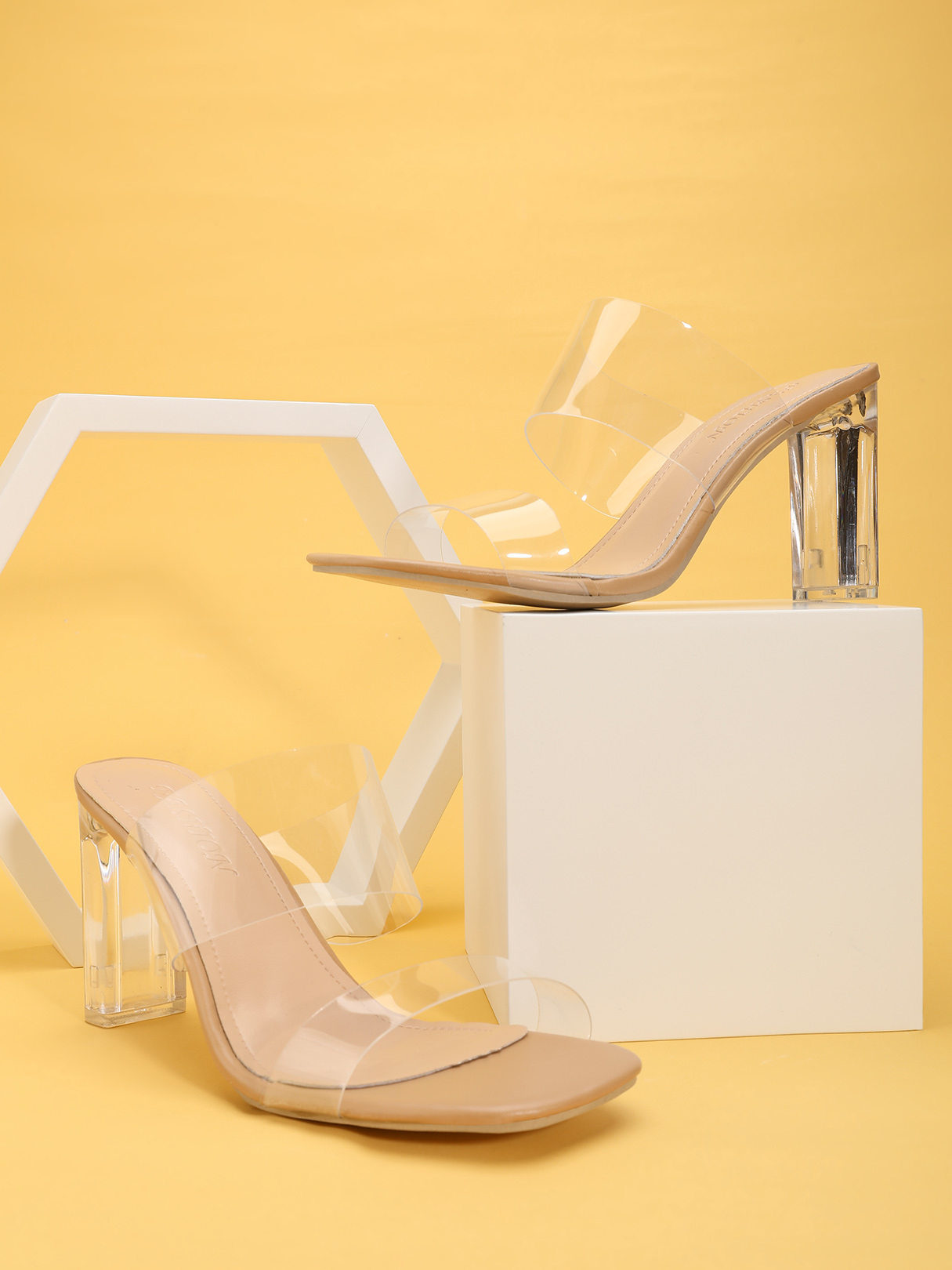Open Toe Clear Heeled Mules Sandals