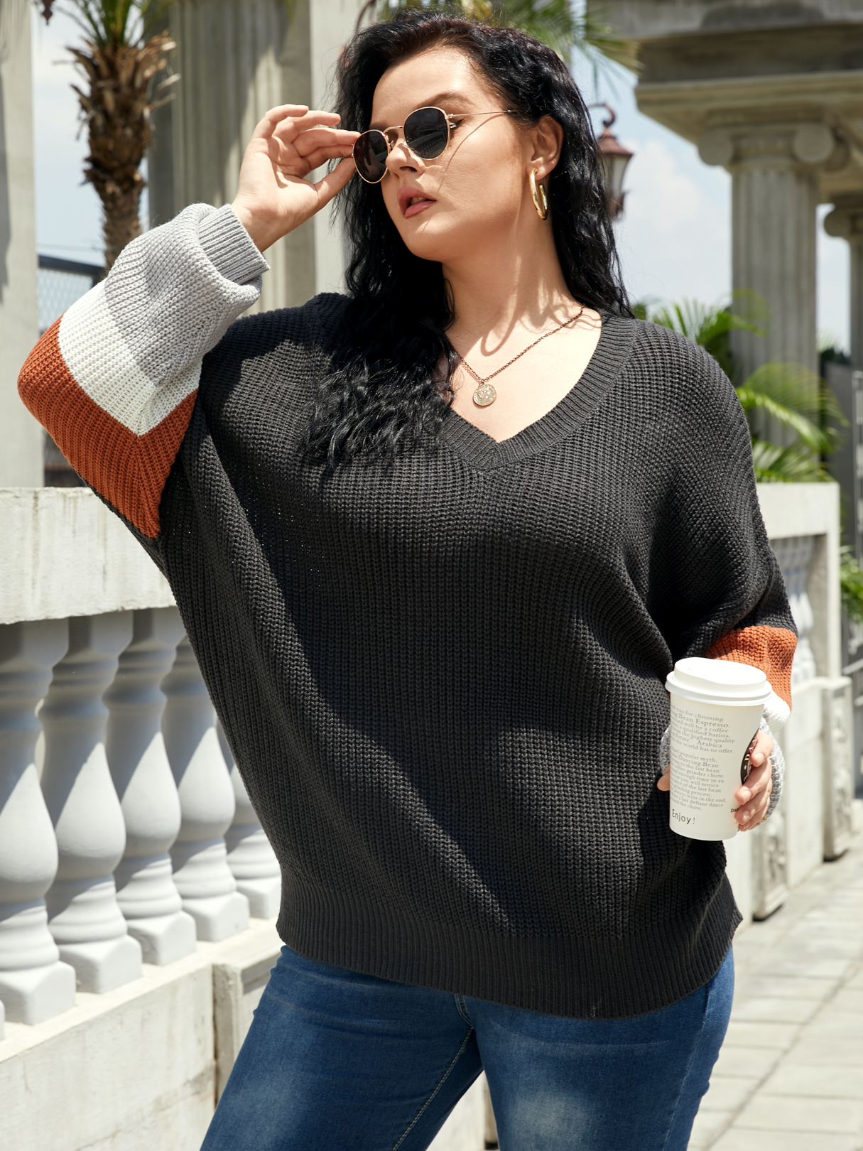 Plus Size Color Block Patchwork Design Long Sleeves Sweater, Multi