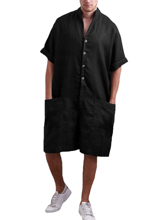 Men Stand Collar Pocket Casual Cotton Shirt Sleeve Loose Rompers Jumpsuits, YOINS  - buy with discount