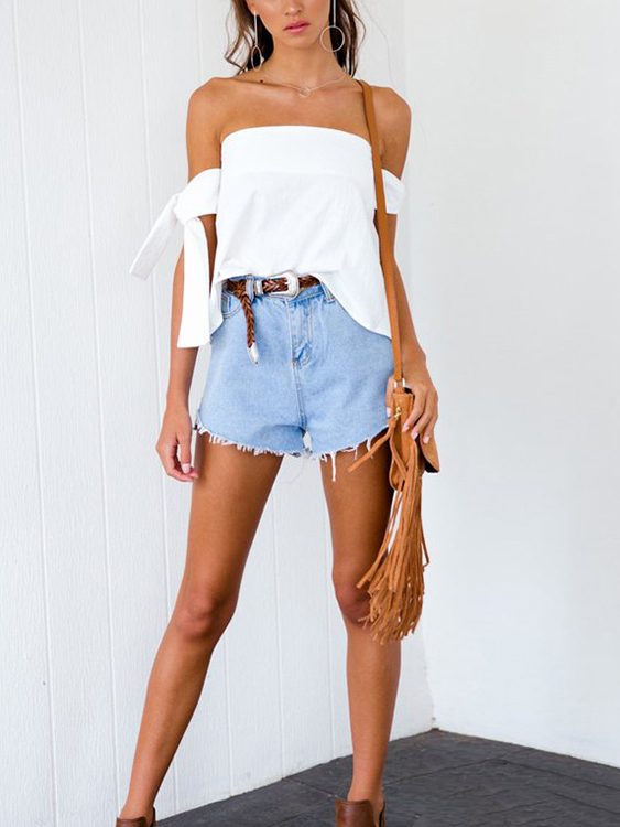 Off-The-Shoulder Tie Sleeves Top in White