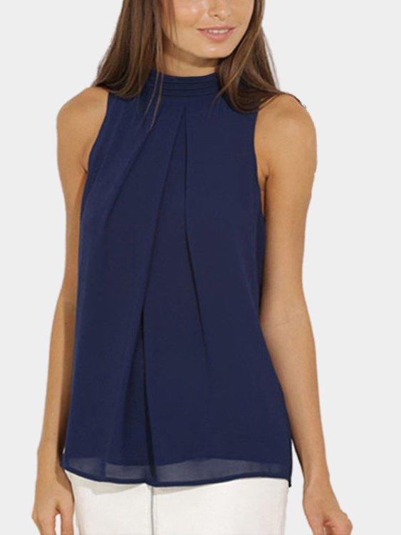 Yoins coupon: Navy High Neck Open Back Pleated Chiffon Tank Top