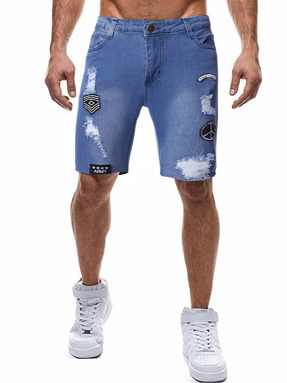 Men Fashion Casual Embroidered Ripped Jeans Shorts, YOINS  - buy with discount
