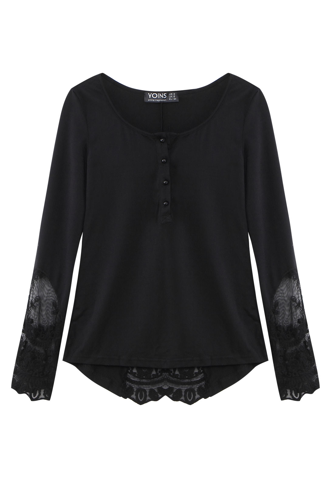 Yoins coupon: Black Lace Insert Bell Sleeve Blouse
