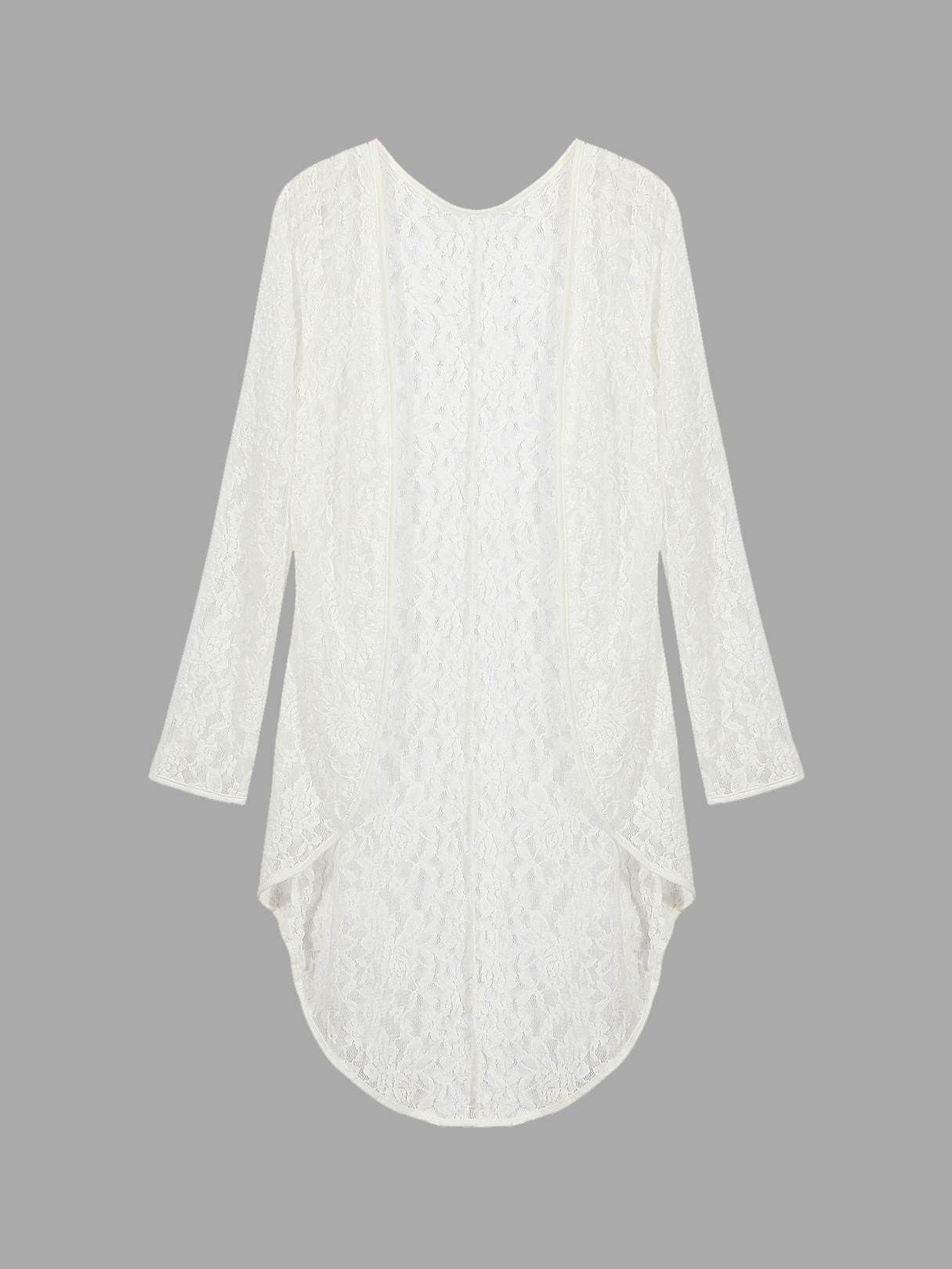 Longline Structured Lace Kimono With Mesh