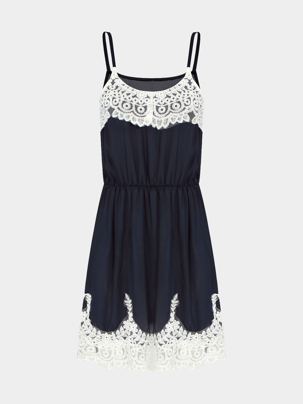 Blue Cami Dress With Crochet Lace Insert