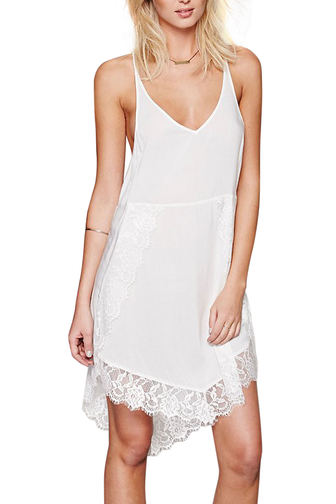 White Cami Dress With Lace Hem