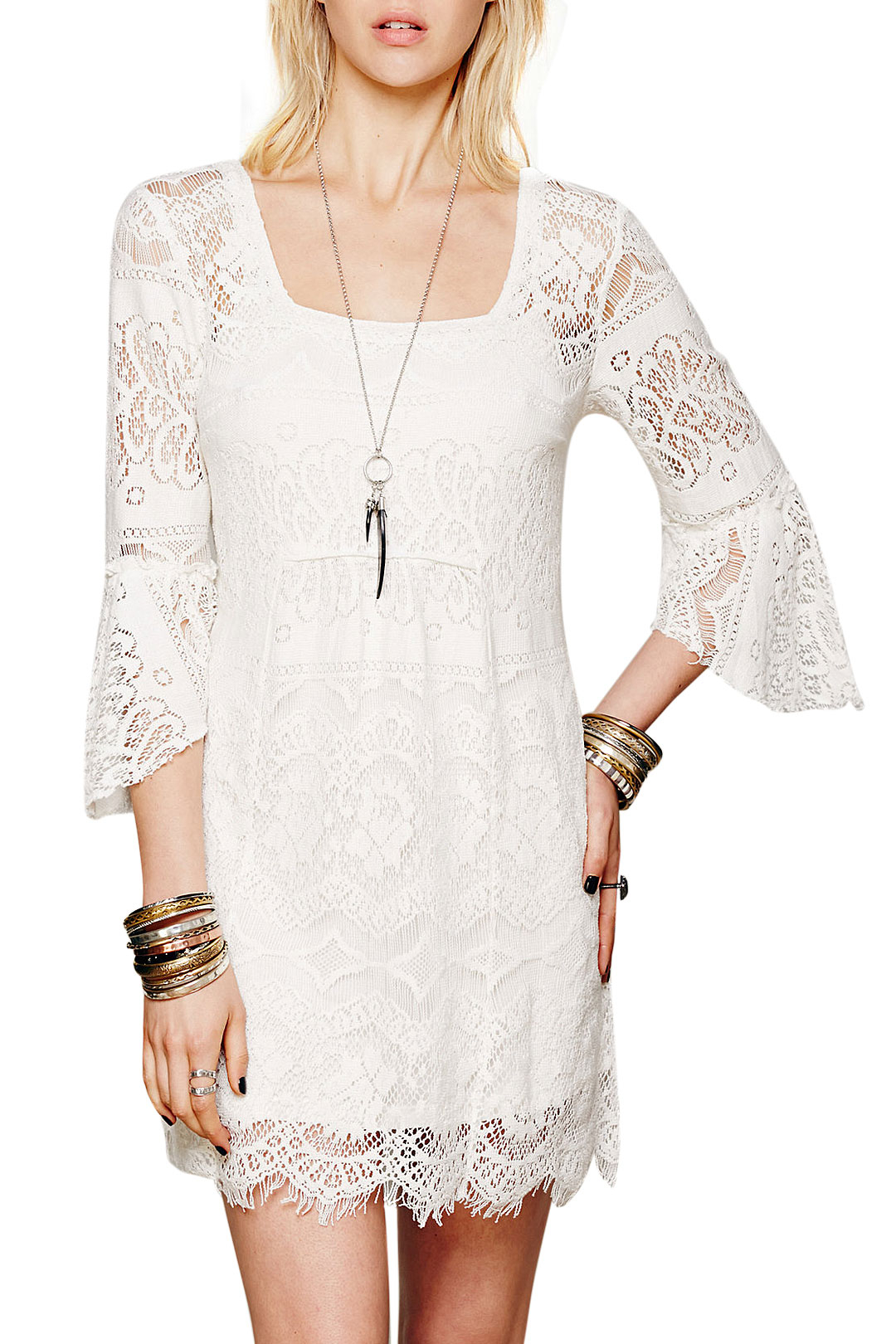 White Lined Lace Dress