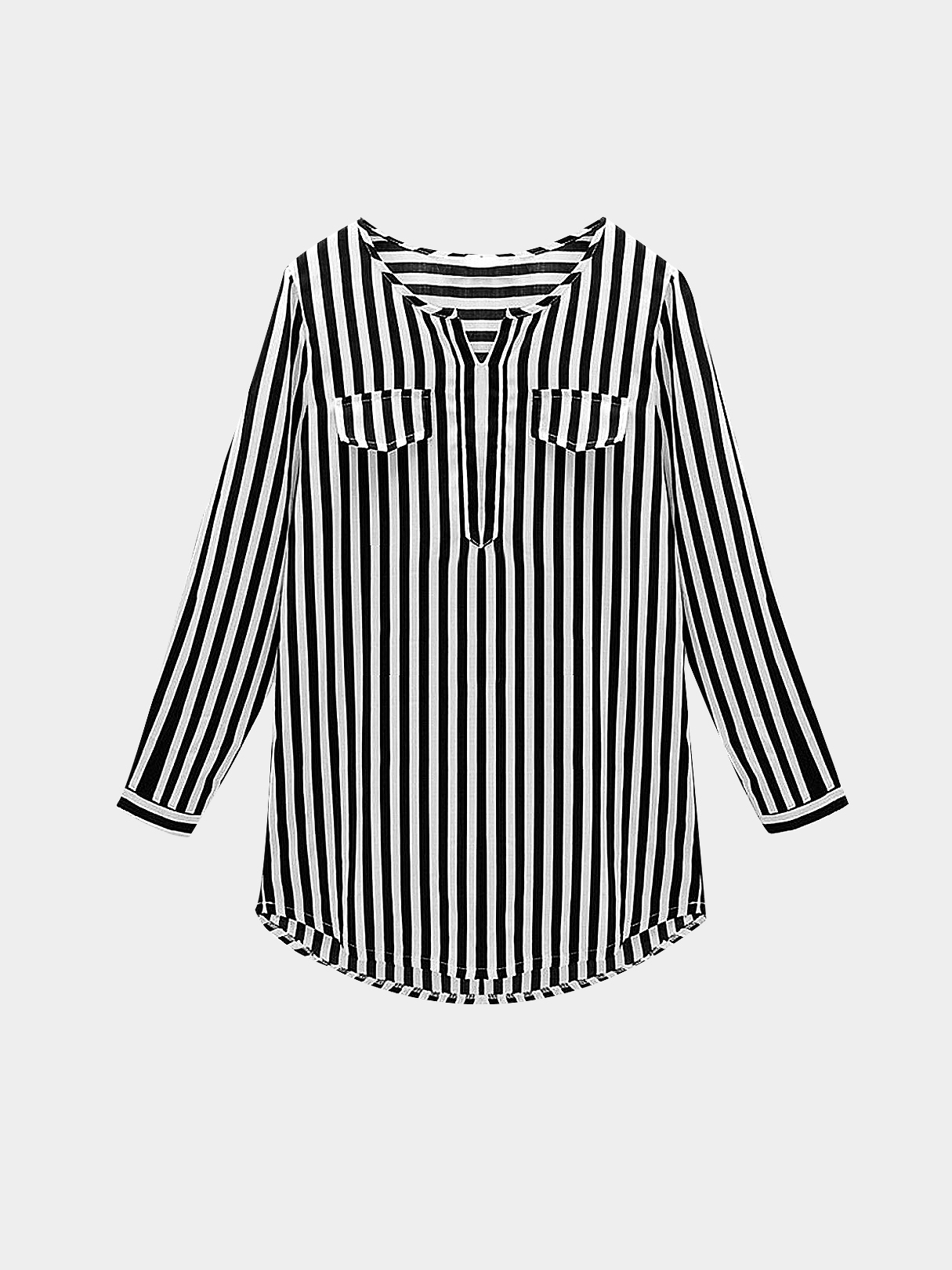 7c5ca37ffbc Plus Size Black Vertical Striped Shirt - US$17.95 -YOINS