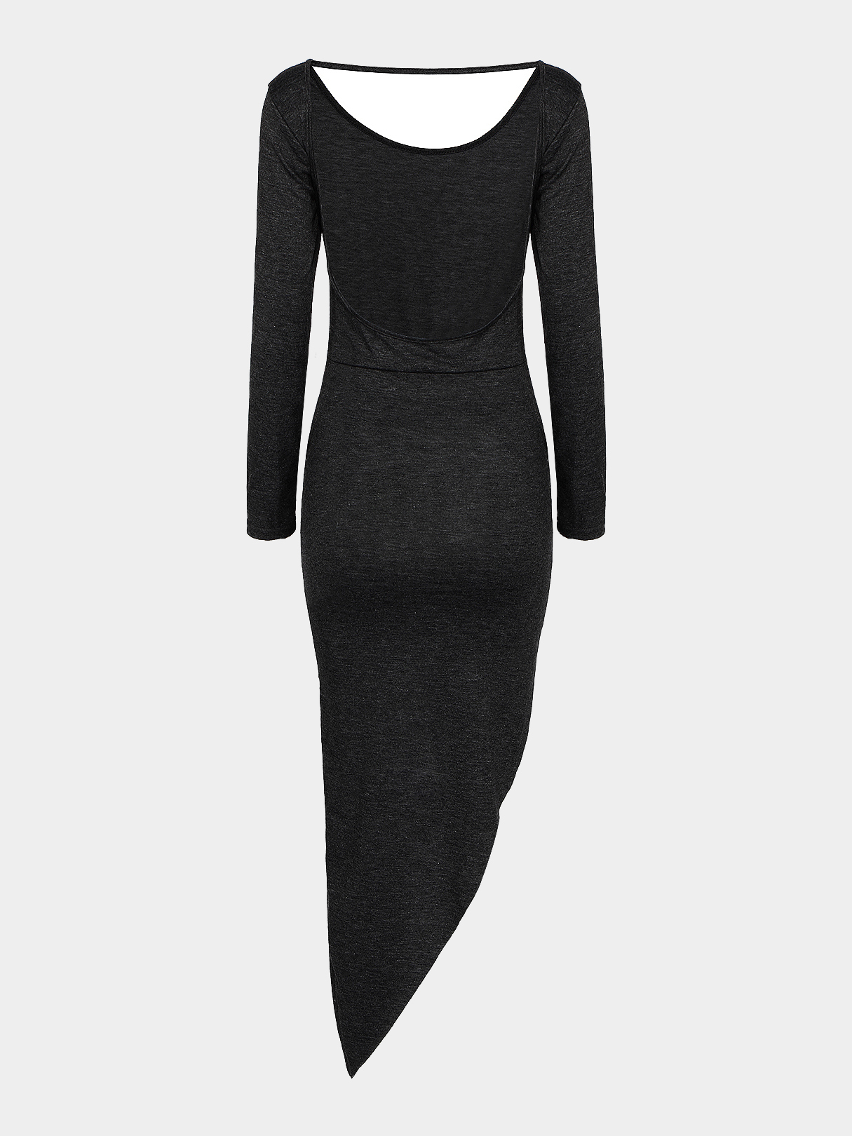 Black Asymmetric Party Dress With Cut Out Back