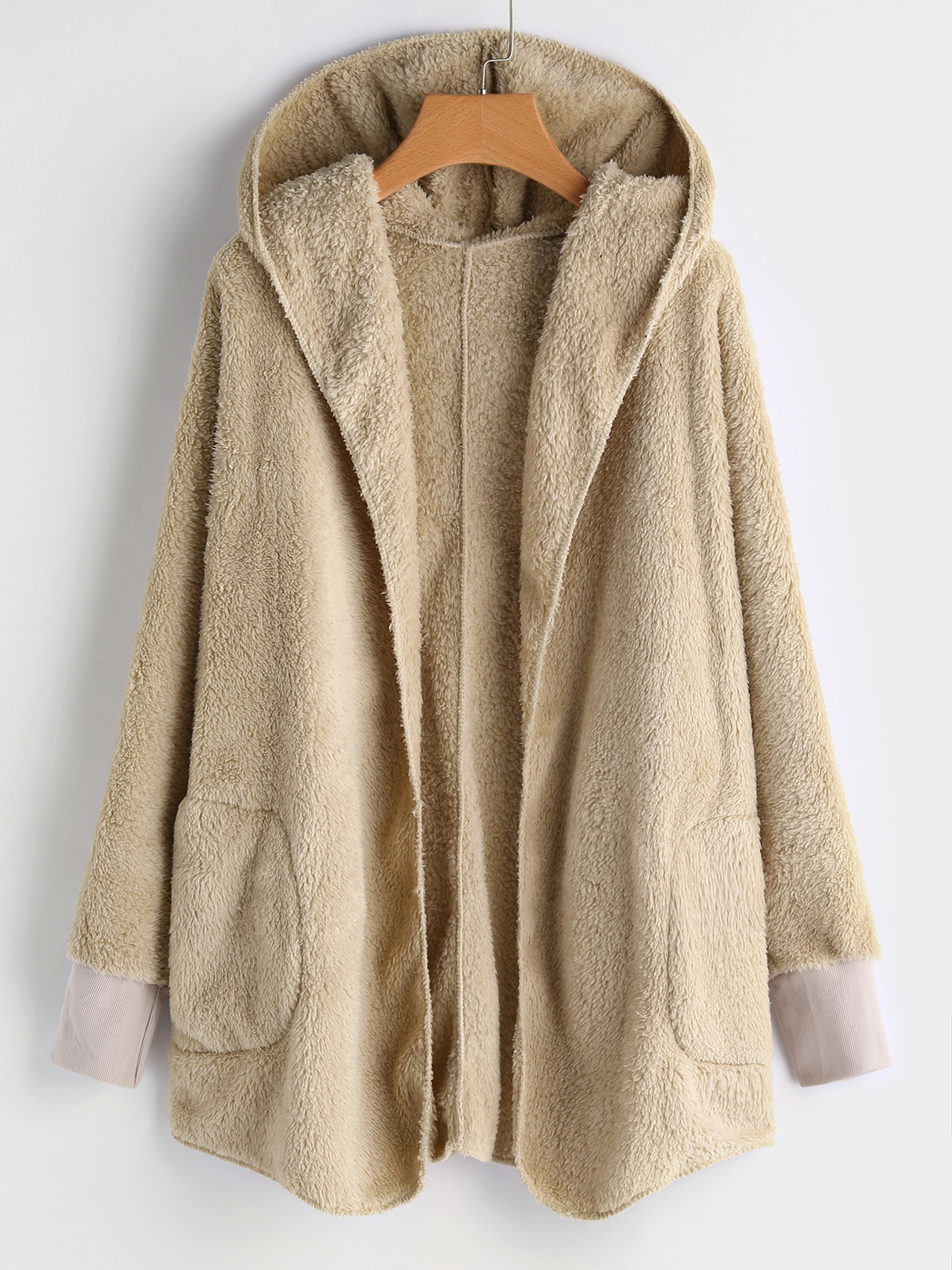 Beige Open Front Hooded Design Faux Fur Coat